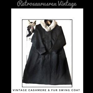 Vintage 1940's Cashmere & Arctic Fox Swing Coat 0X
